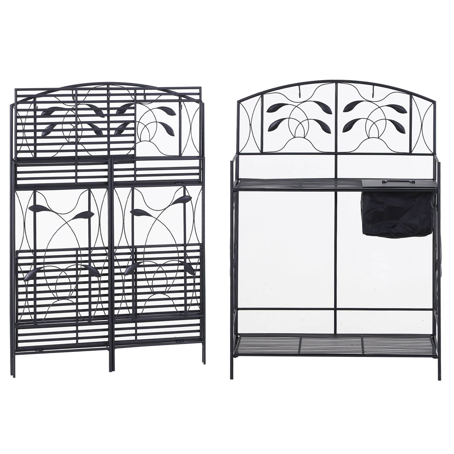 Picture of: Black Metal Potting Bench With Wrought Iron Vine Details And Fabric Potting Sink