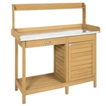 Natural Fir Wood Potting Bench Garden Work Table with Metal Top