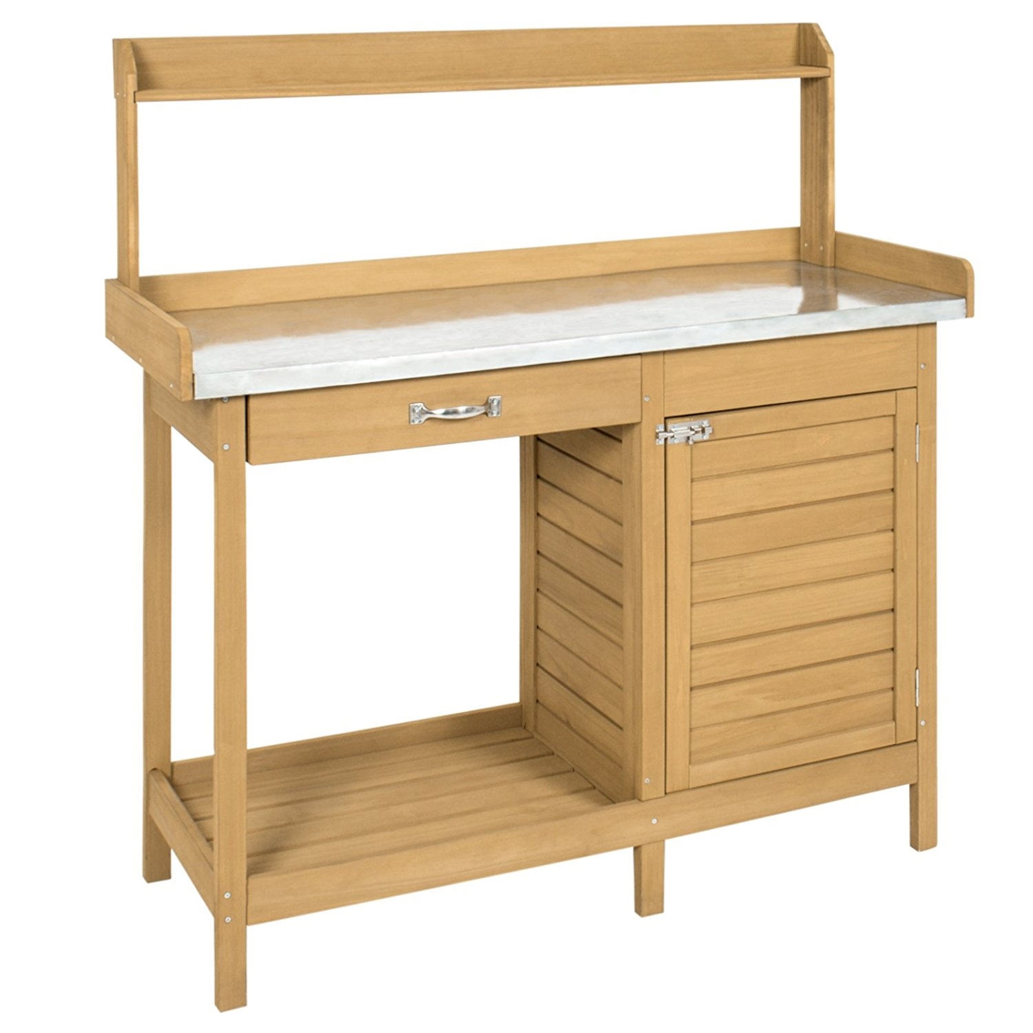 Natural Fir Wood Potting Bench Garden Work Table With Metal Top Fastfurnishings Com