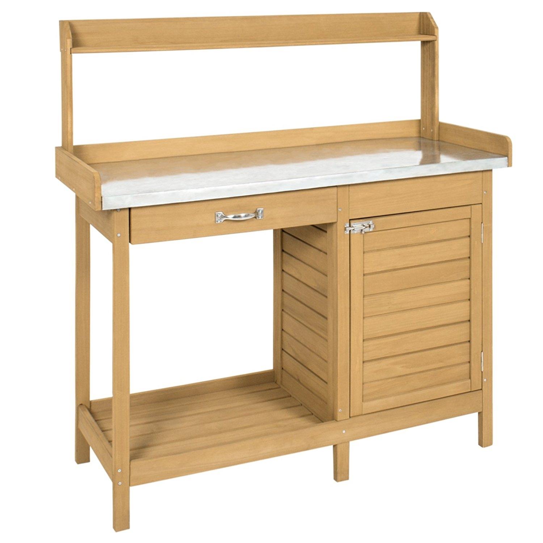 Natural Fir Wood Potting Bench Garden Work Table with Metal Top