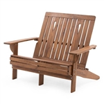 Outdoor 4-ft Adirondack Chair Loveseat Bench in Natural Wood Finish