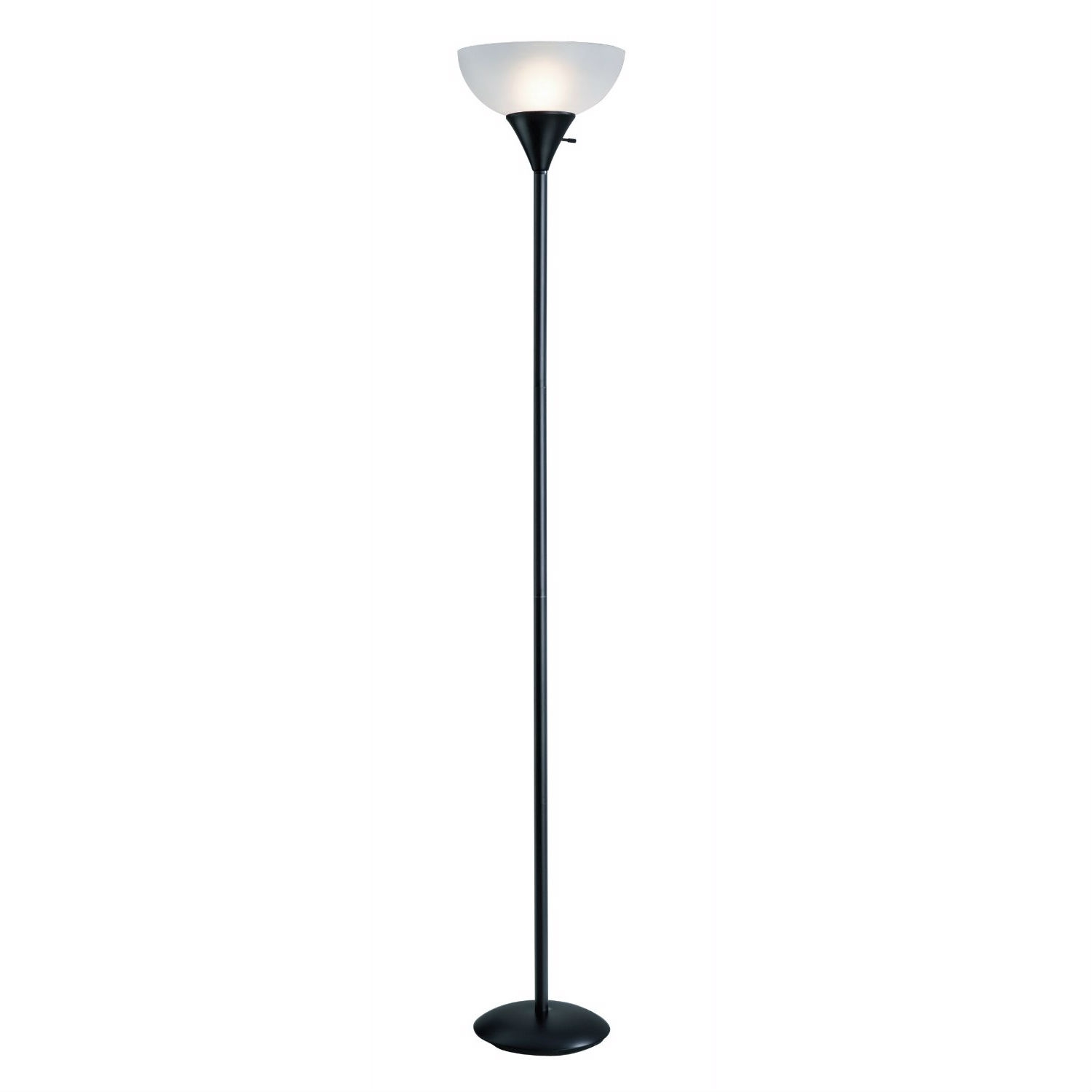 Black 70 Inch 150 Watt Floor Lamp White Frosted Shade