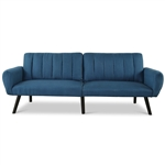 Modern Mid-Century Navy Blue Linen Futon Sofa Bed Couch
