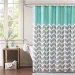 蓝绿色白色之字形雪佛龙超细纤维淋浴帘