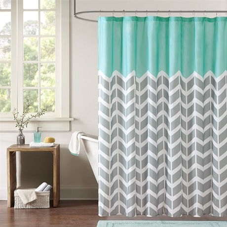 Teal Grey White Zig Zag Chevron Microfiber Shower Curtain
