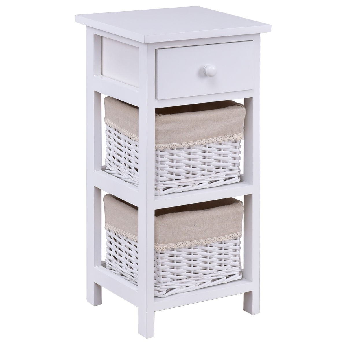 White Wood 1 Drawer End Table Nightstand With 2 Wicker Baskets