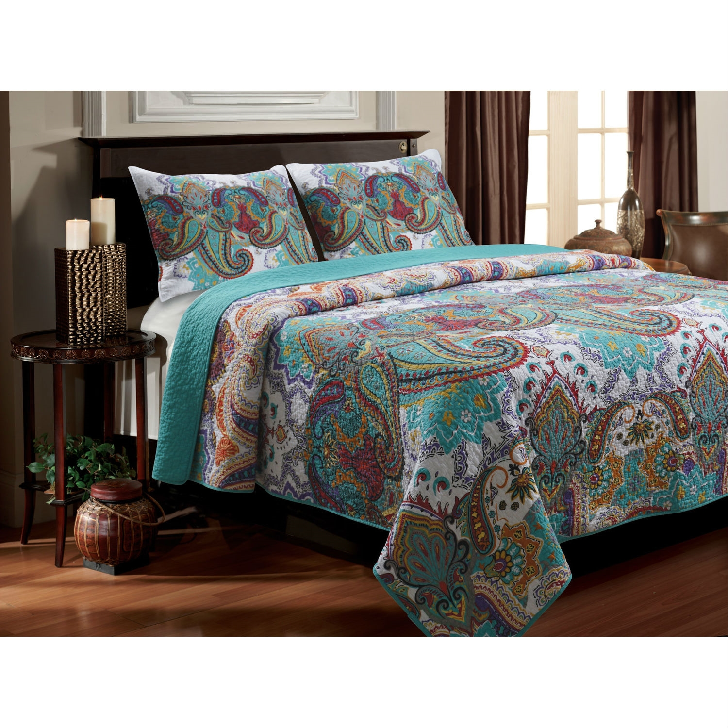 Twin size 3-Piece Cotton Quilt Set in Teal Multi-Color Paisley ... : cotton quilt twin - Adamdwight.com