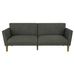 Mid-Century Style Grey Linen Upholstered Futon Sofa Bed with Wooden Legs
