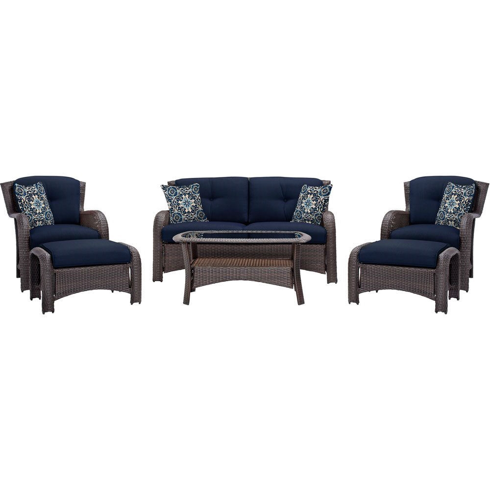 Outdoor 6 Piece Resin Wicker Patio Furniture Lounge Set With Navy Blue Seat Cushions Fastfurnishings Com