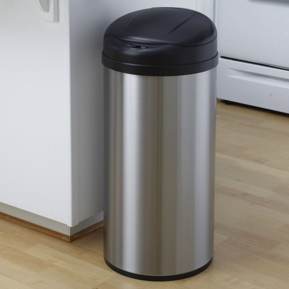 Round Stainless Steel 13 Gallon Touchless Kitchen Trash Can |  FastFurnishings.com