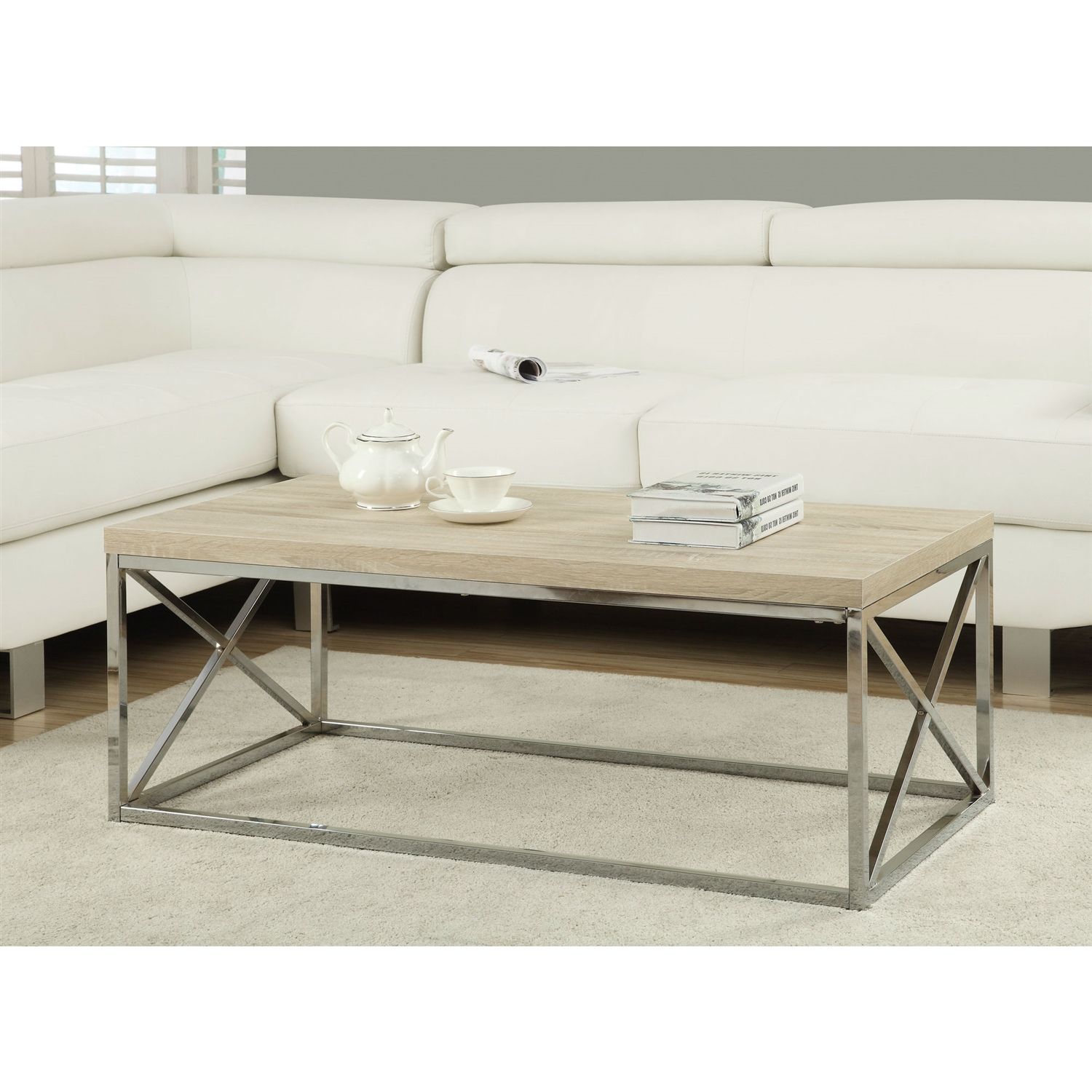 - Modern Rectangular Coffee Table With Natural Wood Top And Metal