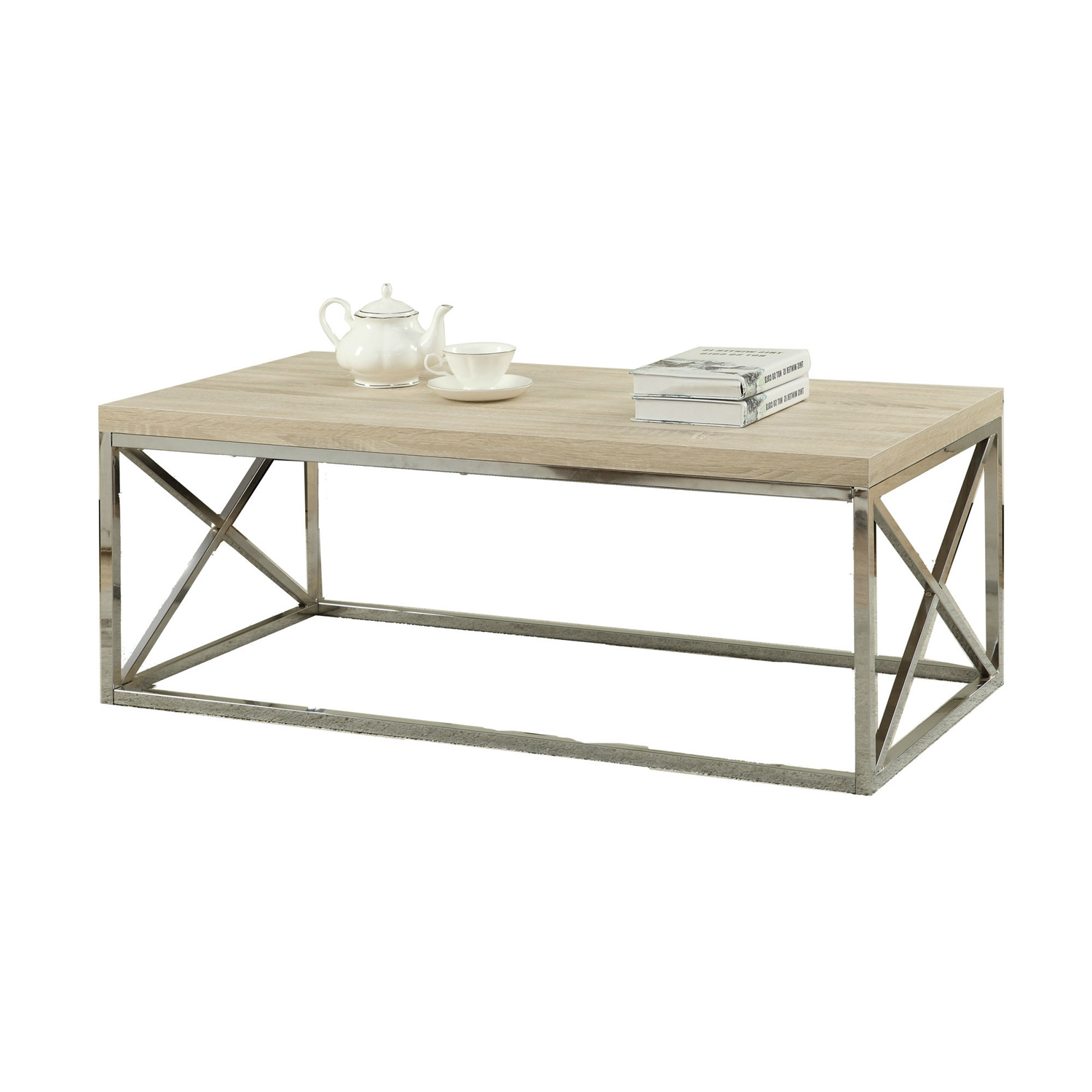 Wood For Coffee Table Top: Modern Rectangular Coffee Table With Natural Wood Top And