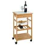Tile Top Wooden Kitchen Cart with Casters