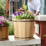 18.5-inch Outdoor Barrel Planter in Cedar Wood - Made in USA