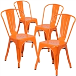 Set of 4 Outdoor Indoor Orange Metal Stacking Bistro Dining Chairs