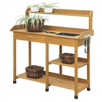 Outdoor Garden Wood Potting Bench Work Table with Sink in Light Oak Finish