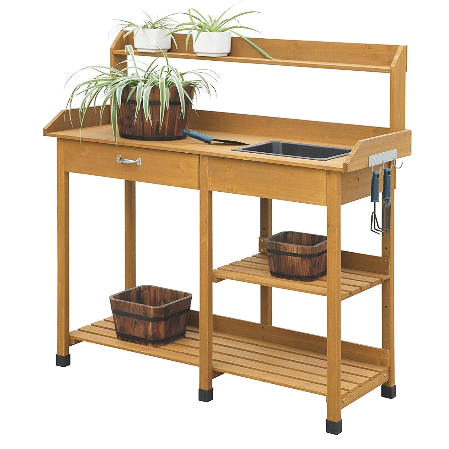 Outdoor Garden Wood Potting Bench Work Table With Sink In Light Oak