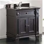 Single Sink Bathroom Vanity with Cabinet & Black Granite Countertop / Backsplash