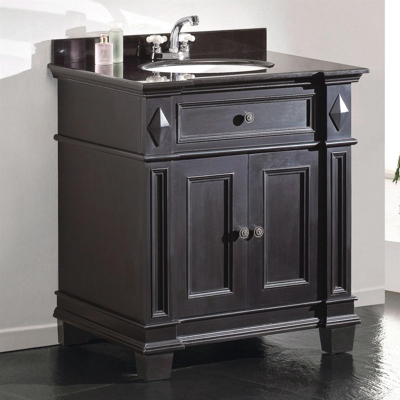 - Single Sink Bathroom Vanity With Cabinet & Black Granite