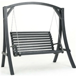 Outdoor Wooden Hanging Porch Swing with Stand in Grey Wood Finish