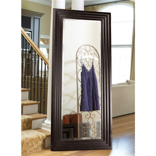 oversized full length floor mirror with espresso wood frame. Black Bedroom Furniture Sets. Home Design Ideas