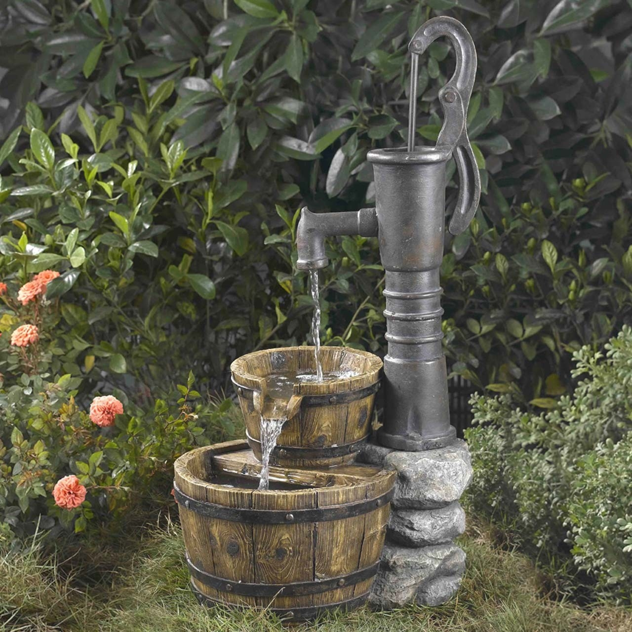 Outdoor Water Pump Half Whiskey Barrel Style Fountain