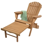 Folding Wood Adirondack Chair with Pull-Out Foot Rest Ottoman