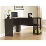 L-Shaped Corner Computer Office Desk in Dark Brown Espresso Finish
