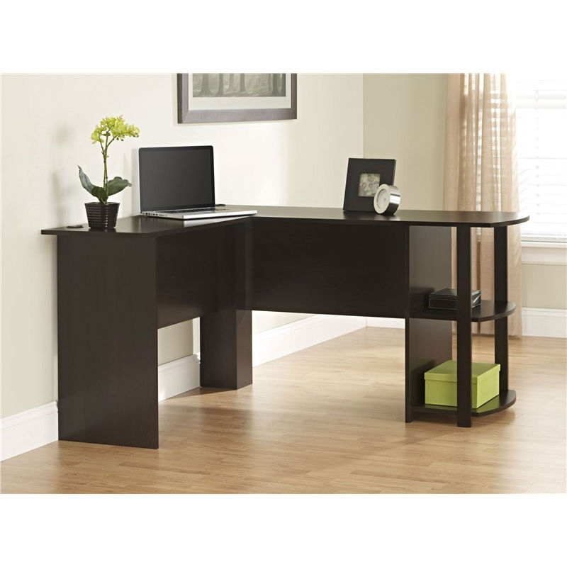 Lovely L Shaped Corner Computer Office Desk In Dark Brown Espresso Finish