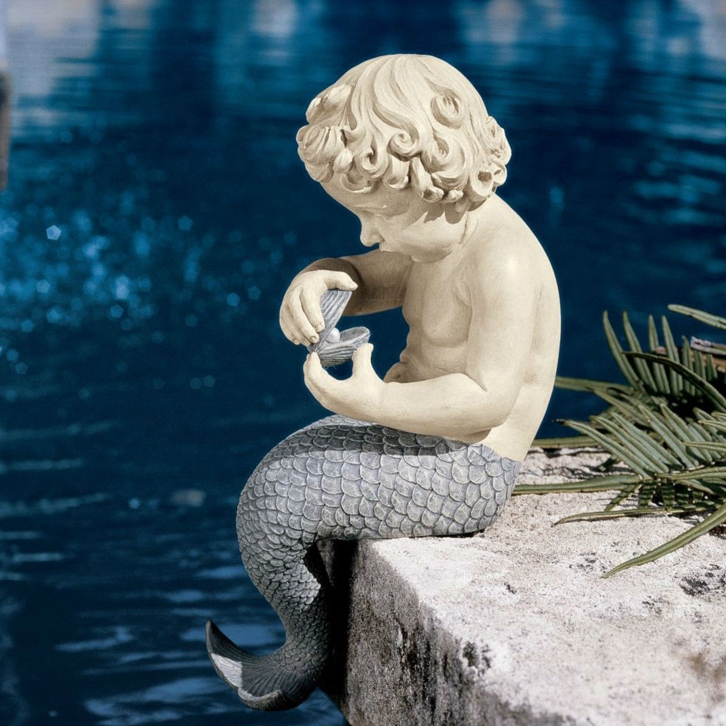 Garden Statue With Oyster And Pearl