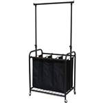 Bronze Black 3-Bag Laundry Sorter Hamper with Adjustable Clothes Hanging Bar