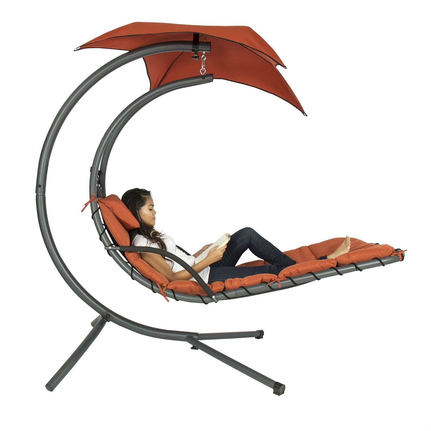 Orange Red Single Person Modern Chaise Lounger Hammock