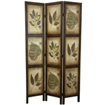 3-Panel Double Sided Floral Botany Plant Life Floral Leaves Room Divider