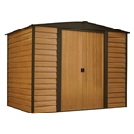 Outdoor 6-ft x 5-ft Steel Storage Shed with Woodgrain Pattern Siding