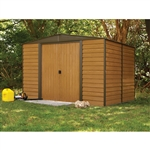 Outdoor 10 x 12-ft Steel Storage Shed With Woodgrain Panels
