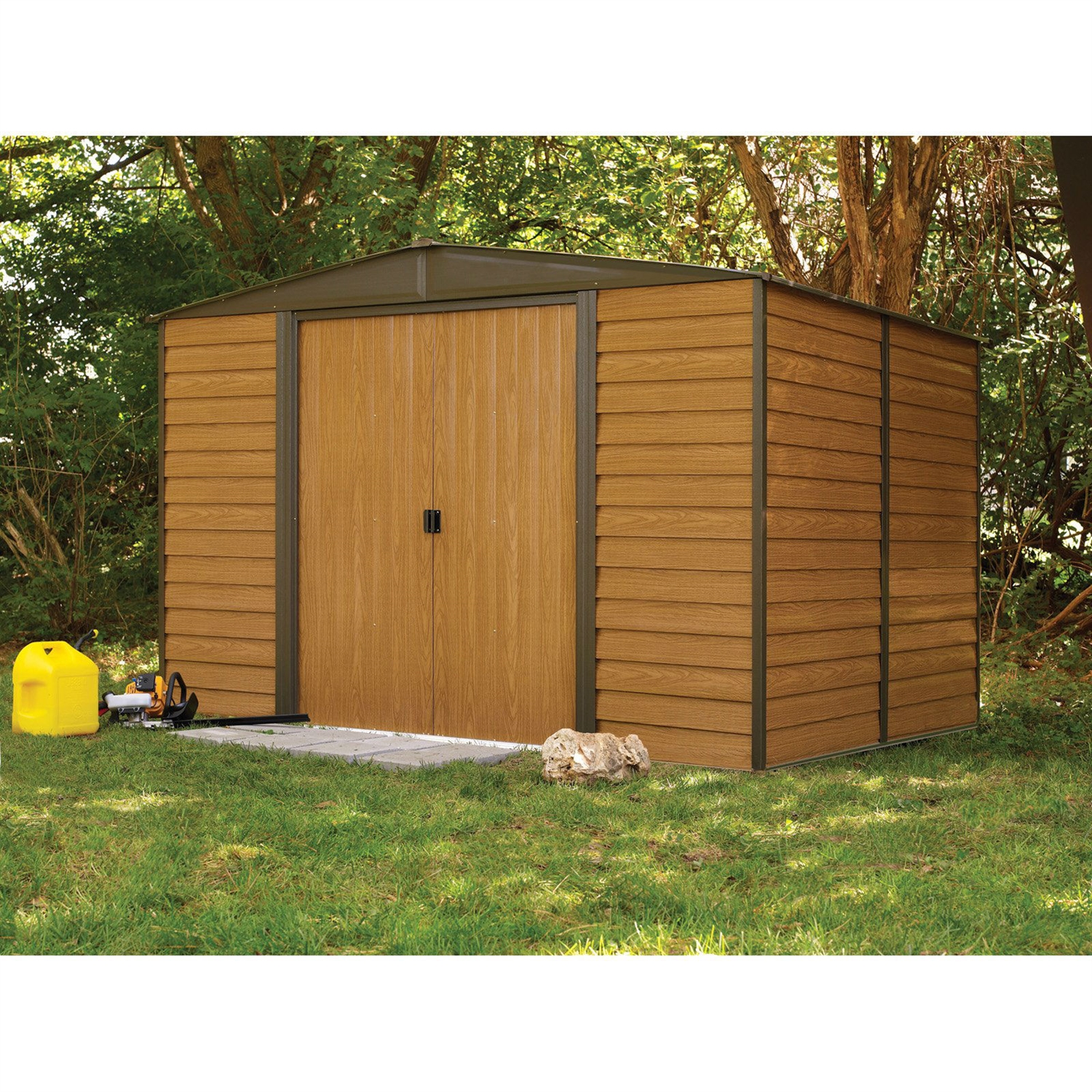 Outdoor 10 x 12 ft steel storage shed with woodgrain panels