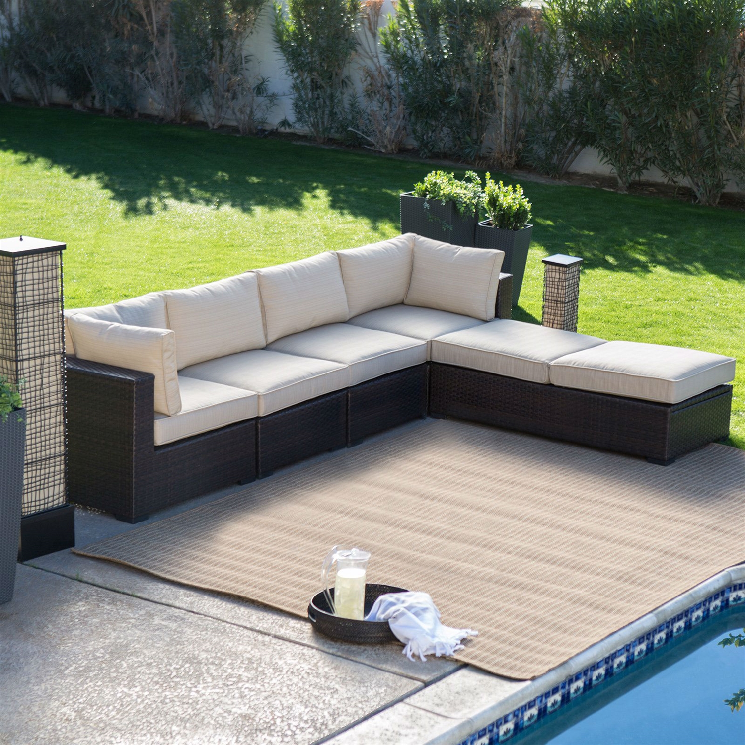 Beau Outdoor Wicker Resin 6 Piece Sectional Sofa Patio Furniture Conversation Set  With Tan Stripe Cushions