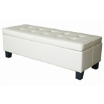 Cream Off-White Faux Leather Tufted Top Storage Bench Ottoman