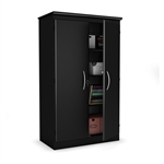Black Storage Cabinet with 2-Doors Great for Bedroom Wardrobe Armoire and Office