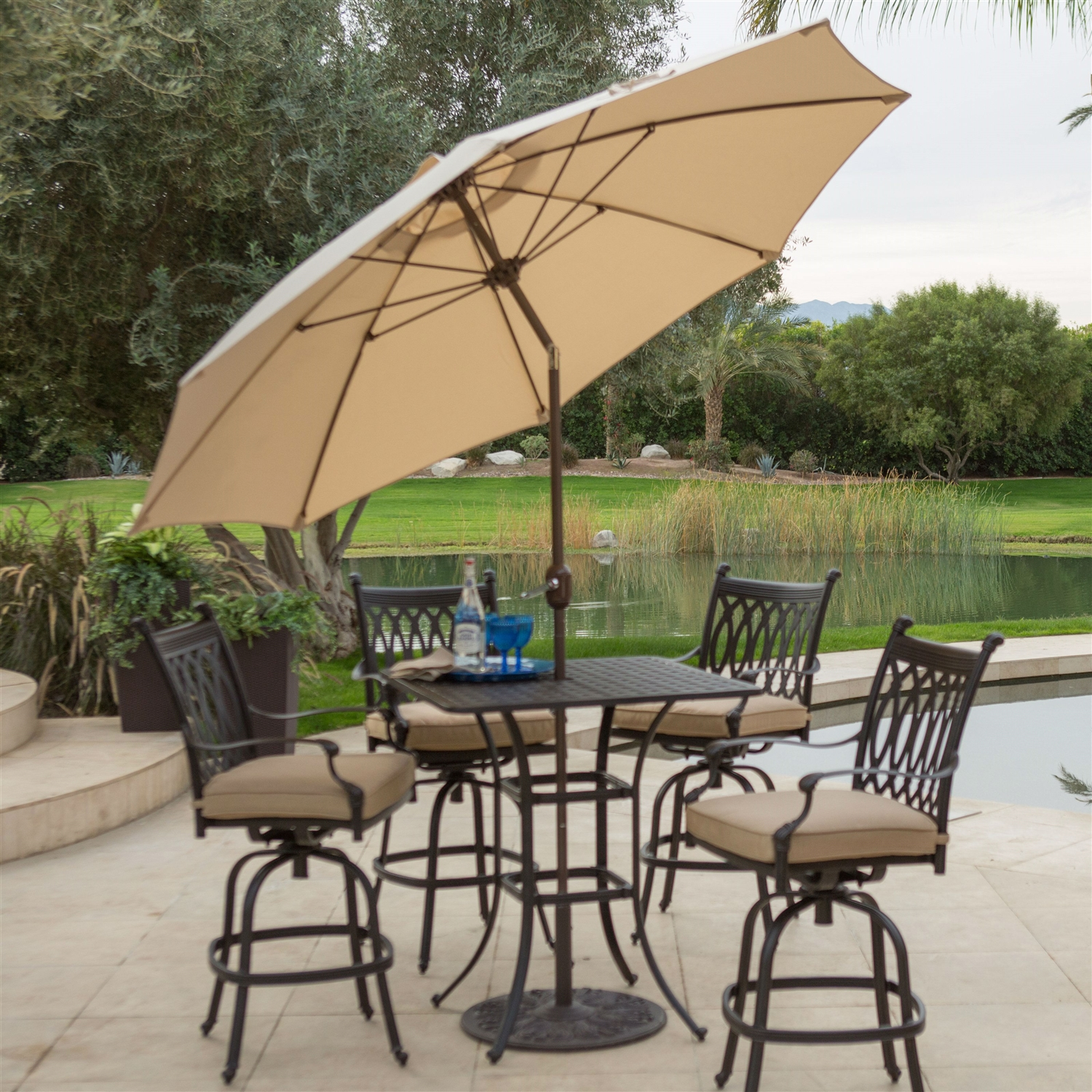 Beige Canopy 9 Ft Patio Umbrella With Push Button Tilt And Bronze Finish  Pole