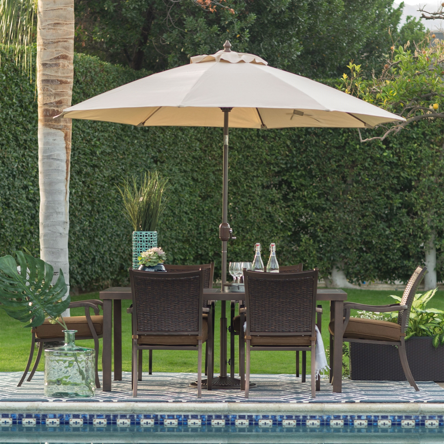 Beige Canopy 9 Ft Patio Umbrella with Push Button Tilt and Bronze