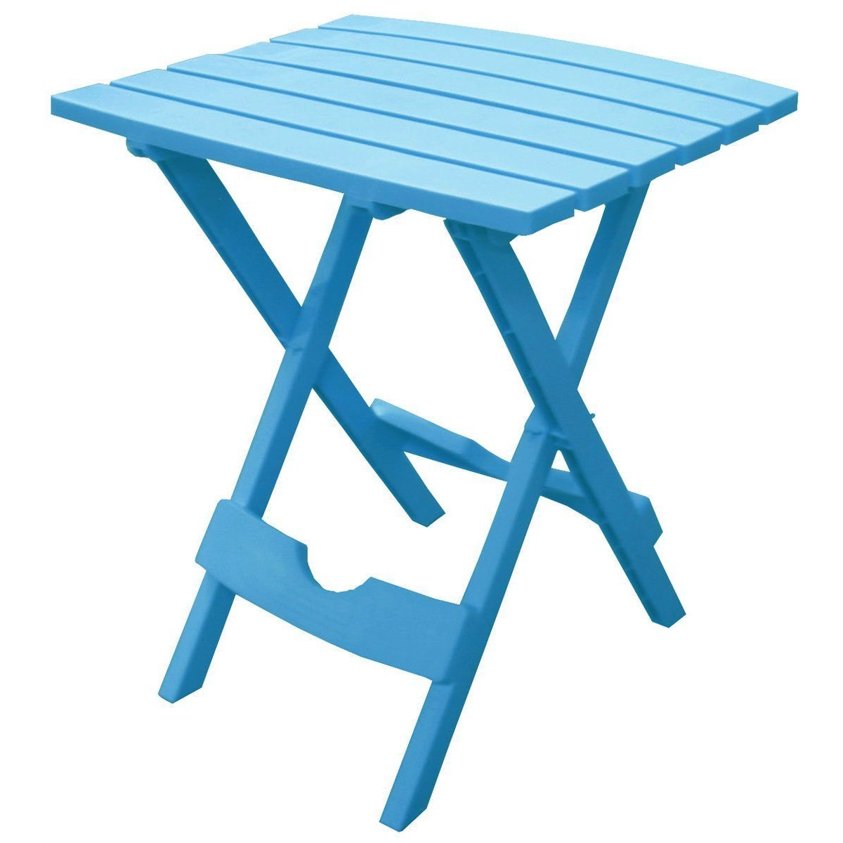 Pool Blue Folding Side Table In Durable Patio Furniture Plastic Resin |  FastFurnishings.com