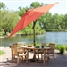 Push Button Tilt 11-Ft Patio Umbrella with Brick Red Orange Canopy