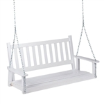 White 4-ft Slat-Back Solid Wood Porch Swing with Chain