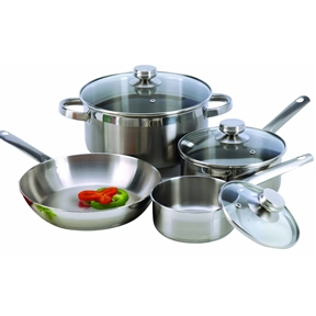 7-Piece Cookware Set Constructed in 18/10 Stainless Steel