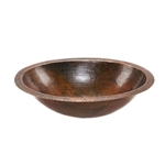 Oval Hammered Copper Bathroom Vessel Sink 17 x 12 inch