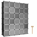 30 Cube Black Portable Closet Wardrobe Shelving Cabinet Unit