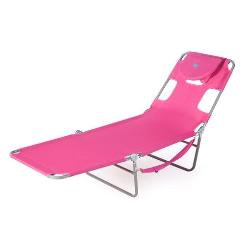 Pink Outdoor Chaise Lounge Beach Chair with 3 Recline ...