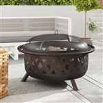 Weather Resistant Steel Wood Burning Fire Pit with Spark Screen