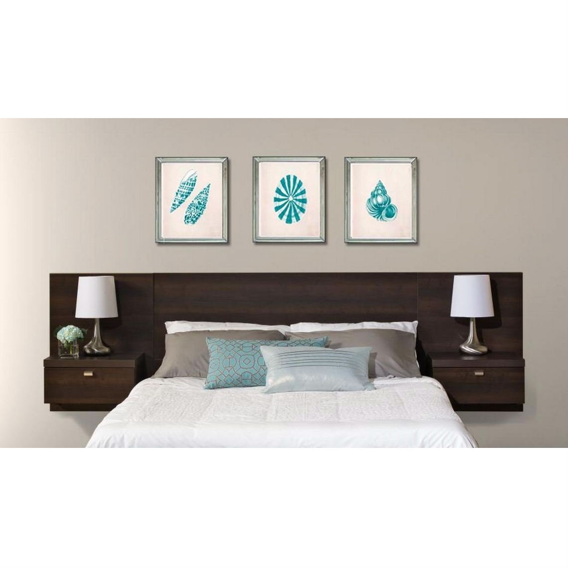 45b249e31 King size Floating Headboard with Nightstands in Espresso |  FastFurnishings.com